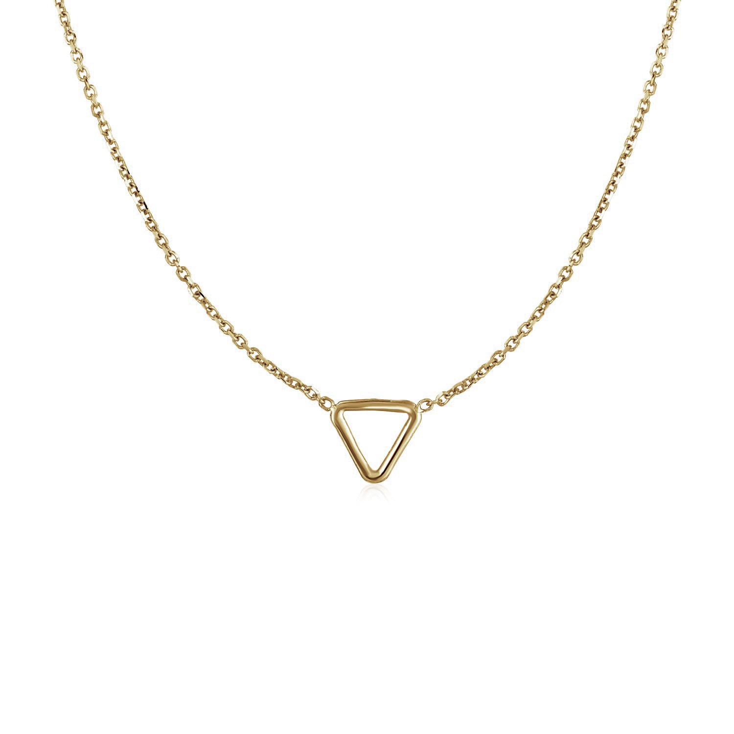 6b20907a74de3 14k Yellow Gold Necklace with Petite Open Triangle Pendant - Richard ...