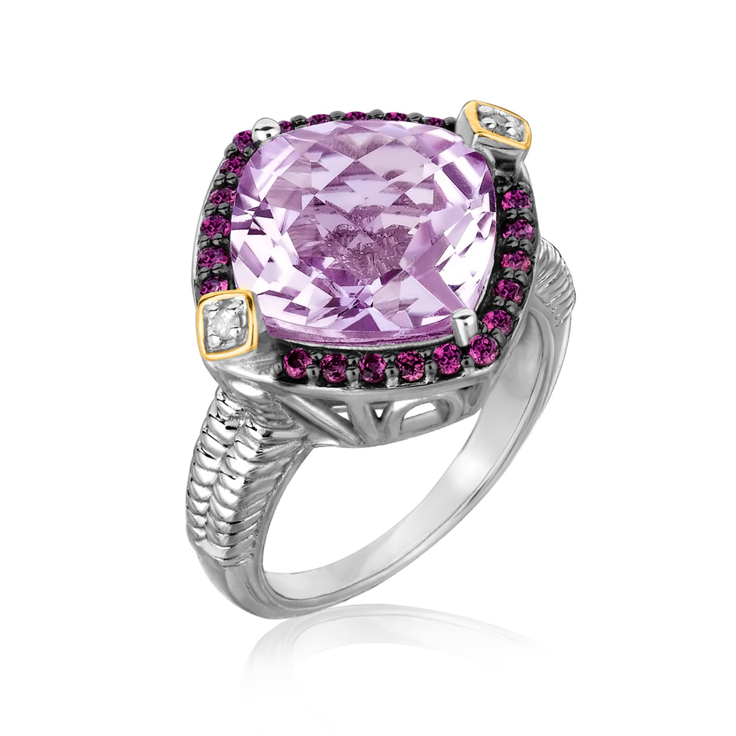 Pink Amethyst Rhodolite And Diamond Accented Cushion