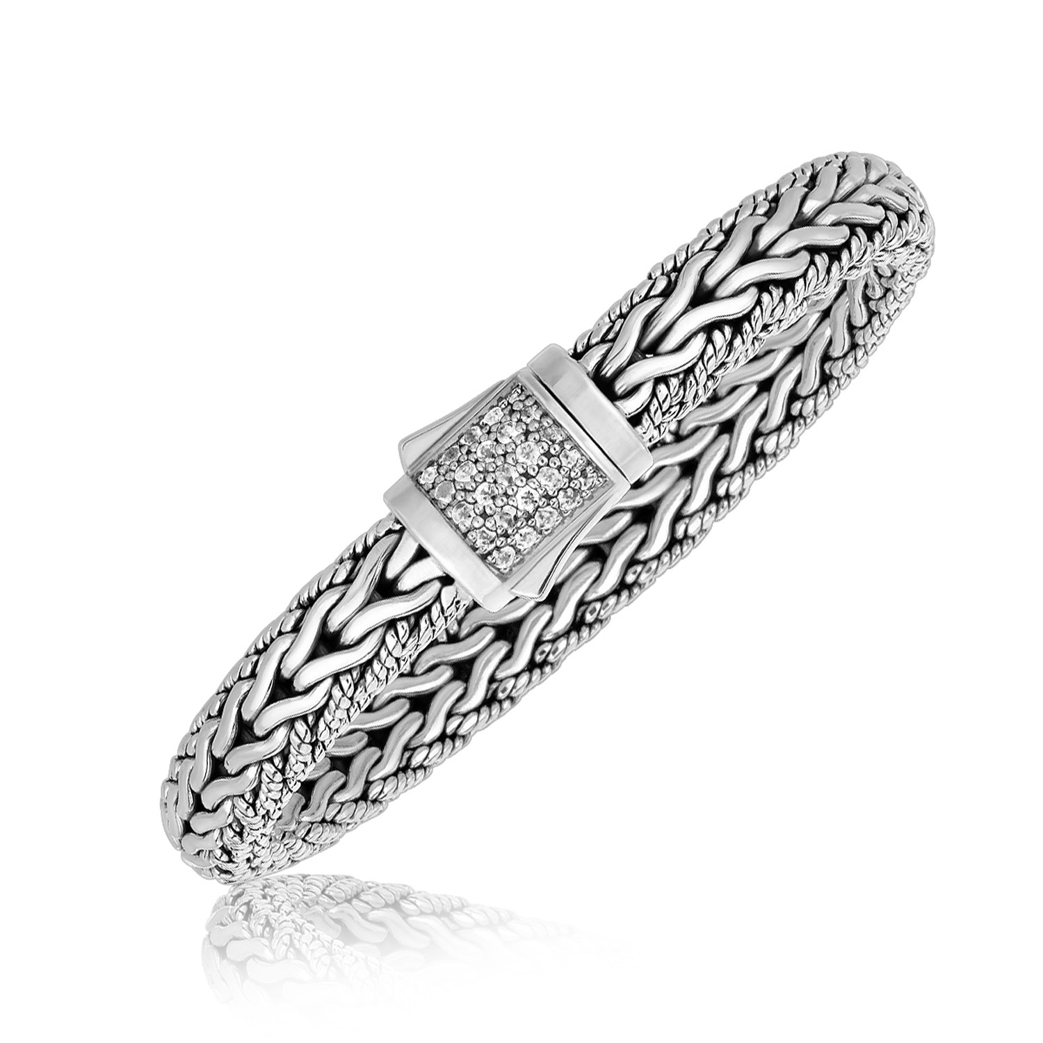 White Tone Sapphire Embellished Men\'s Braided Style Bracelet in ...