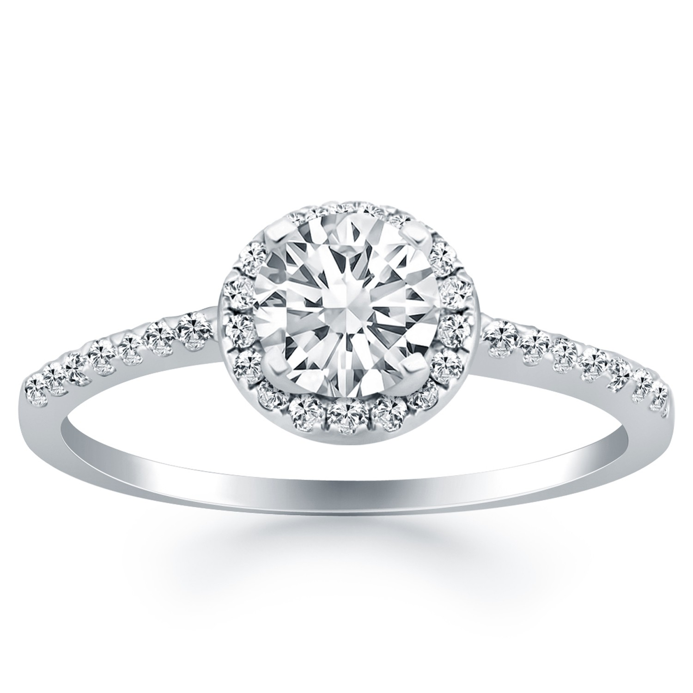 Diamond Halo Collar Engagement Ring Mounting in 14K White Gold