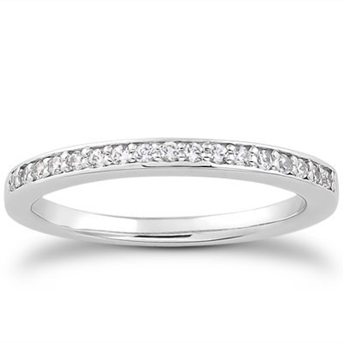 Micro-pave Diamond Wedding Ring Band in 14K White Gold - Richard ...