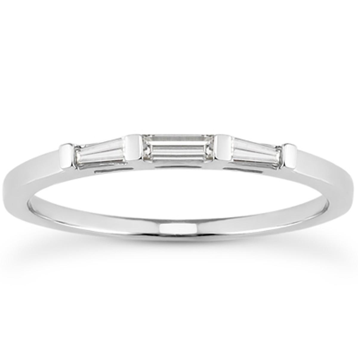 Platinum 0.3ct Round Brilliant Cut & Baguette Cut Diamonds