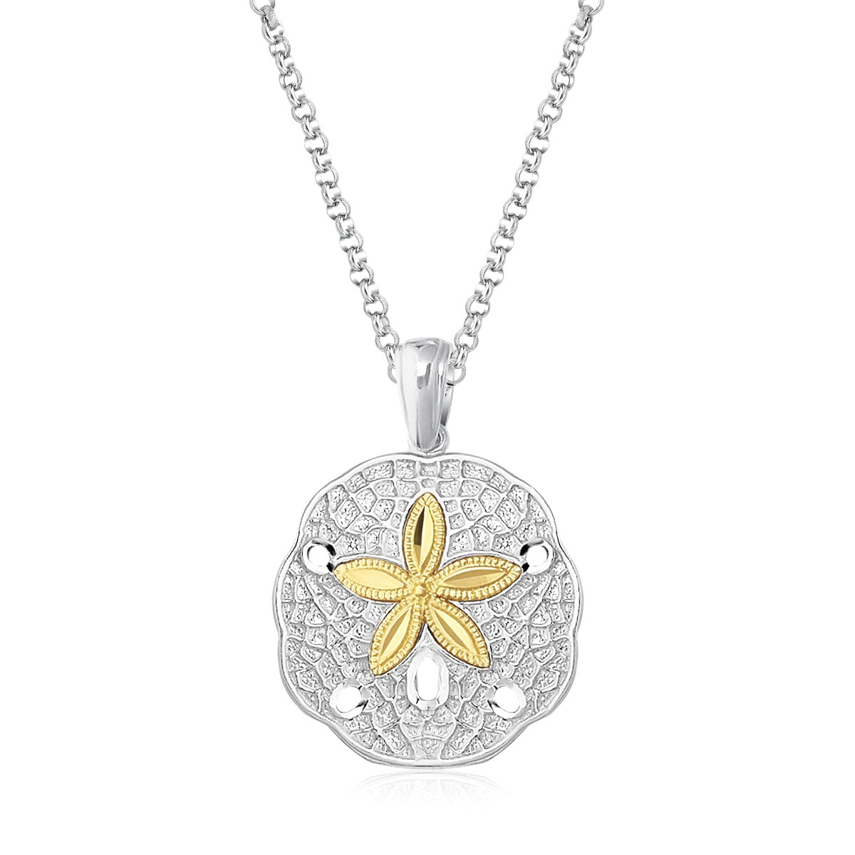 Sand dollar pendant in sterling silver and 14k yellow gold sand dollar pendant in sterling silver and 14k yellow gold richard cannon jewelry mozeypictures Choice Image