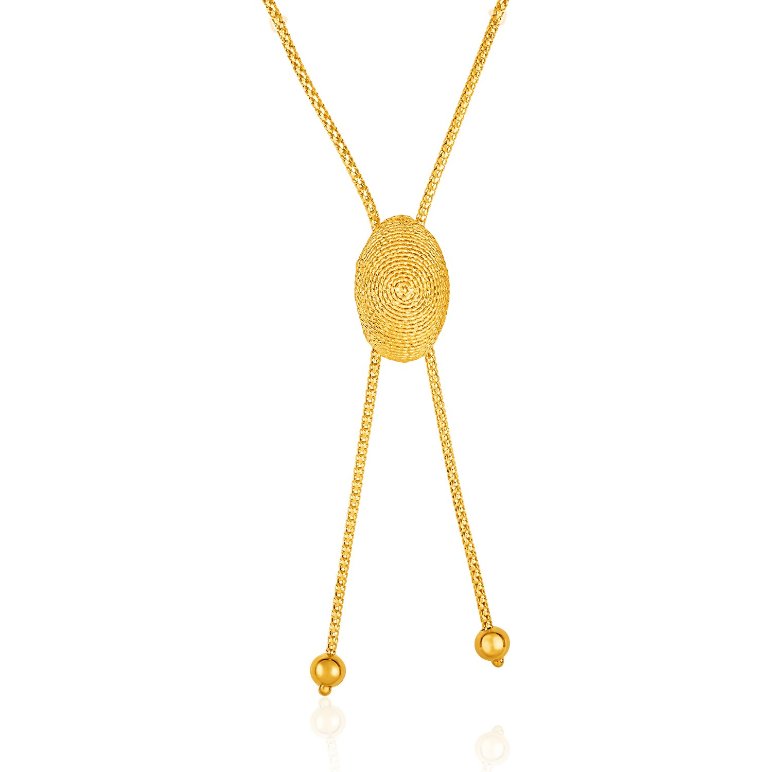 6450dd038e806 14k Yellow Gold Adjustable Lariat Necklace with Textured Oval Dome. Close
