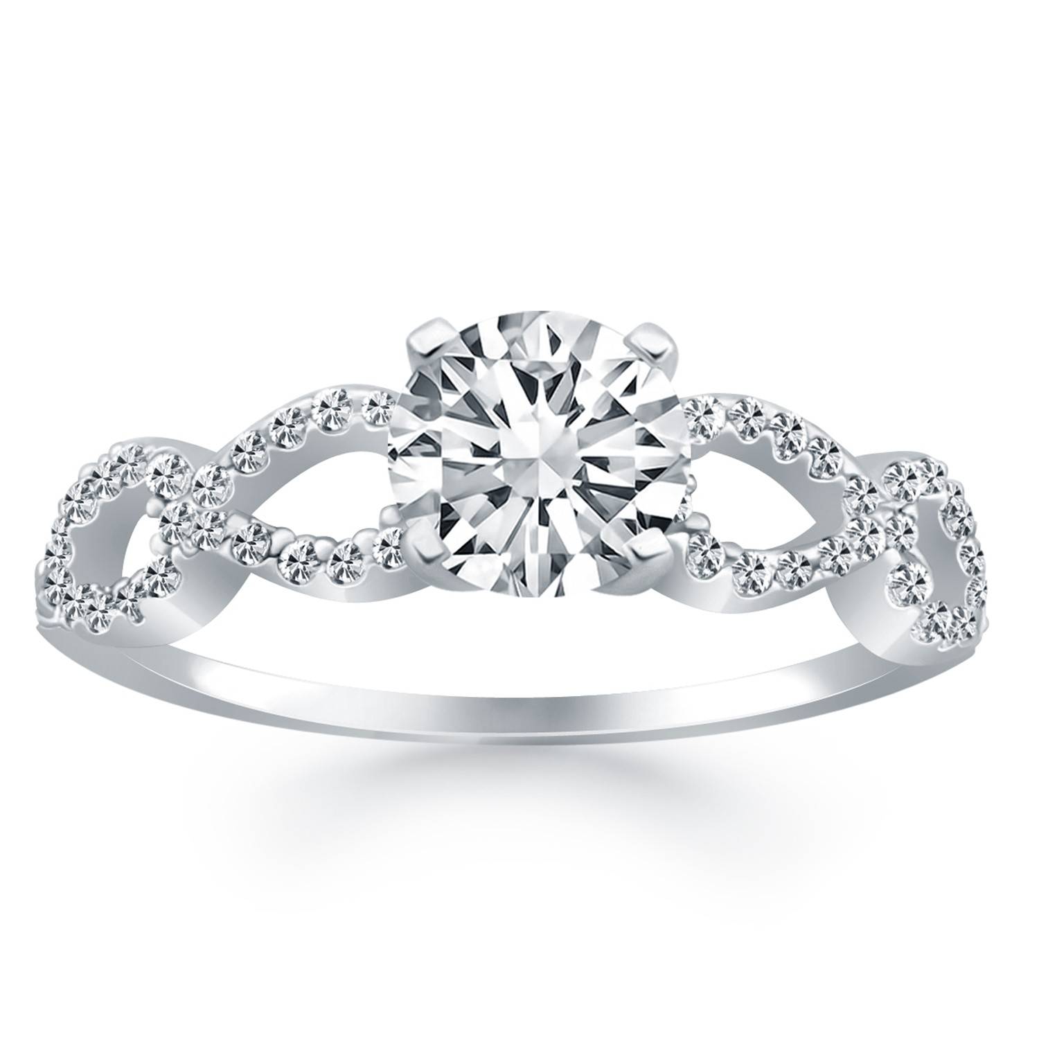 Double Infinity Diamond Engagement Ring Mounting in 14k White Gold