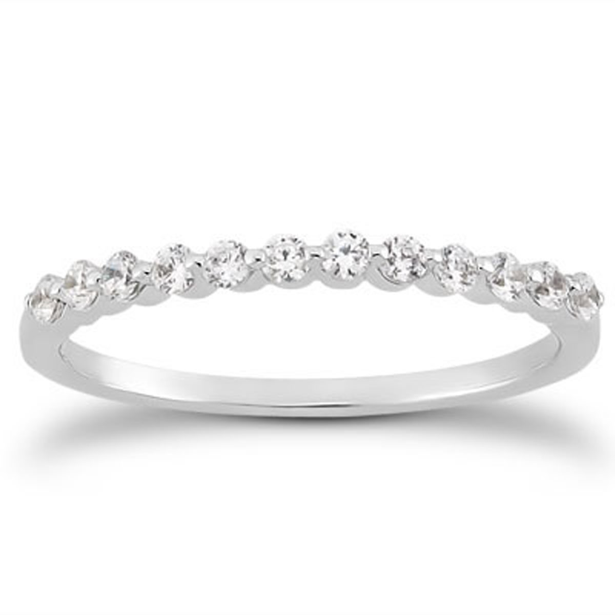 de92b19145c Single Shared Prong Diamond Wedding Ring Band in 14k White Gold - Richard  Cannon Jewelry