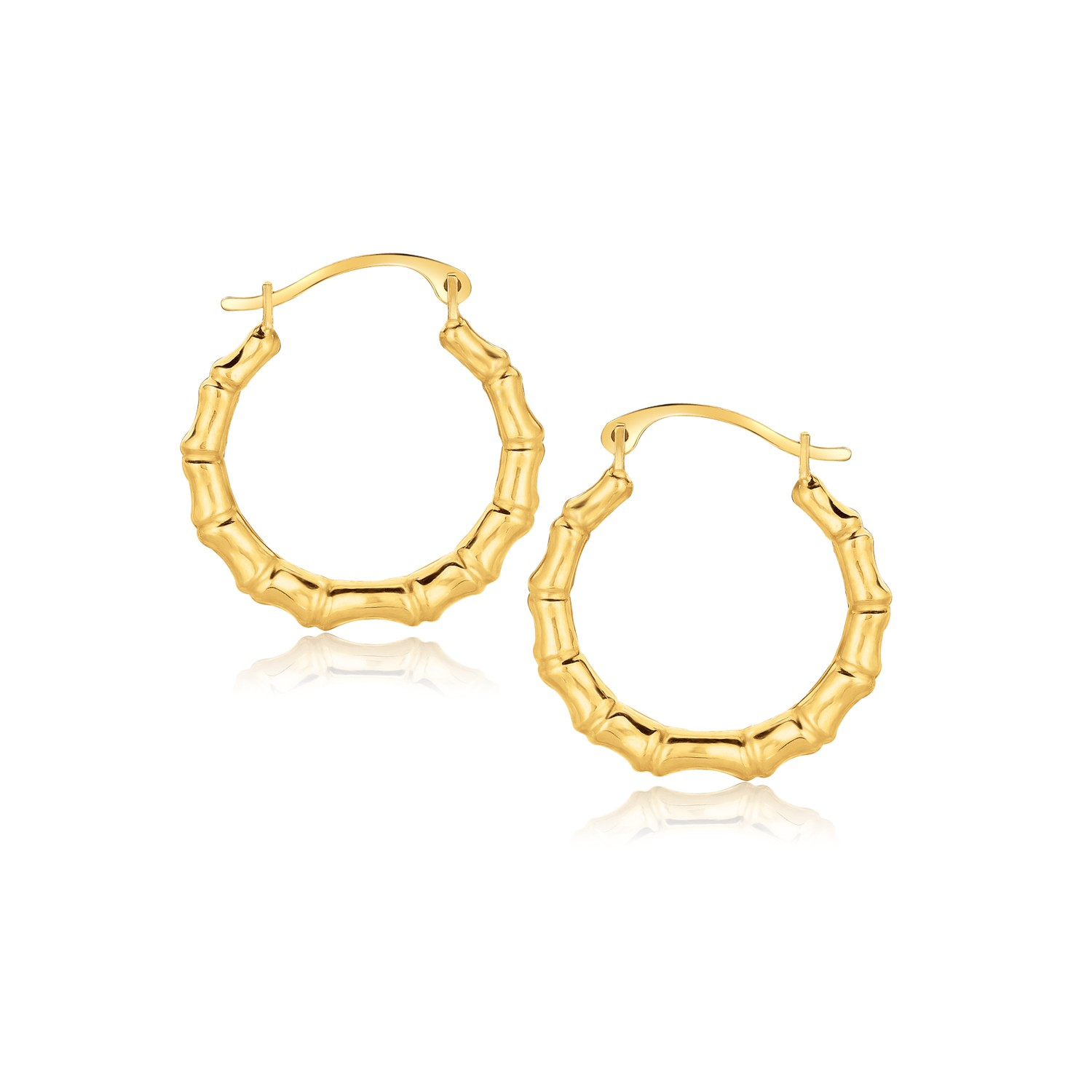 Bamboo Hoop Earrings In 10k Yellow Gold Richard Cannon Jewelry
