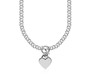 Heart Toggle Charmed Rolo Style Chain Necklace in Rhodium Plated Sterling Silver