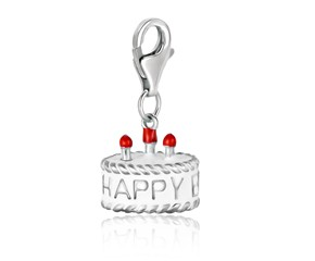 Birthday Cake White Enameled Charm in Sterling Silver