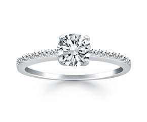 Engagement Ring Mounting with Pave Diamond Band in 14k White Gold