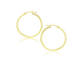 Classic Hoop Earrings in 14k Yellow Gold (25mm Diameter) (2.0mm)