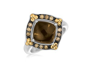 Smokey Quartz Cabochon Ring with Coffee Diamonds in 18k Yellow Gold and Sterling Silver
