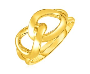 14k Yellow Gold Interlocking Links Ring