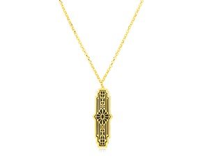 14K Yellow Gold Art Deco Necklace with Black Onyx Inlay