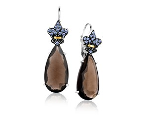 Tanzanite and Smokey Quartz Long Teardrop Earrings in 18k Yellow Gold & Sterling Silver