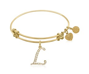 Expandable Yellow Tone Brass Bangle with L Symbol with Cubic Zirconia