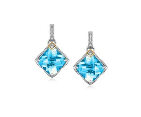 Blue Topaz and Diamond Accented Cushion Drop Earrings in 18K Yellow Gold and Sterling Silver