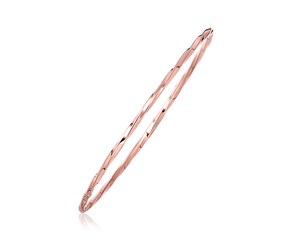 Twisted Style Thin Bangle in 14k Rose Gold