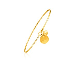 "14k Yellow Gold Bangle with Engraved""Love"" and Puffed Heart Charms"