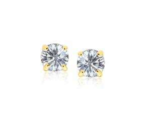 8.0mm Round CZ Stud Earrings in 14k Yellow Gold
