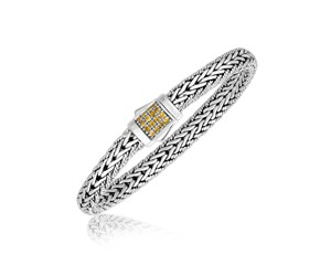 Yellow Sapphire Embellished Men's Braided Look Bracelet in Sterling Silver