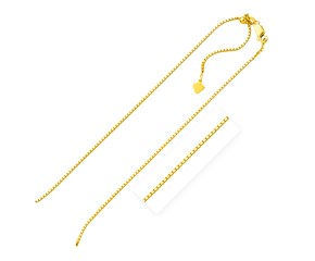 Adjustable Box Chain in Yellow Finish Sterling Silver (1.4mm)