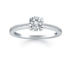 Classic Pave Diamond Band Engagement Ring in 14k White Gold