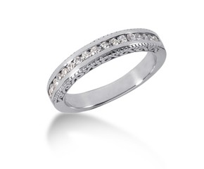Engraved Diamond Channel Set Wedding Ring Band in 14k White Gold