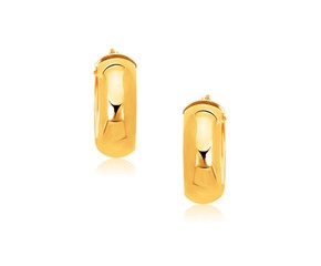 Medium Wide Hoop Earrings in 14k Yellow Gold