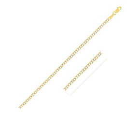 Pave Curb Chain in 14k Two Tone Gold (2.6 mm)