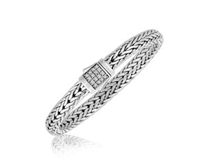 White Sapphire Embellished Men's Braided Style Bracelet in Sterling Silver