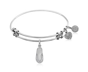 Expandable White Tone Brass Bangle with Flip Flop with Cubic Zirconia