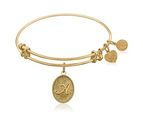Expandable Yellow Tone Brass Bangle with Initial A Symbol