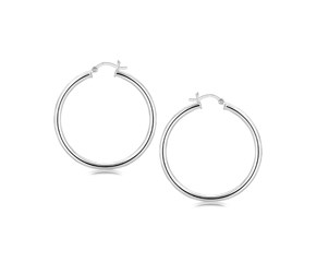 3mm Large Hoop Style Earrings in Rhodium Plated Sterling Silver (40mm)