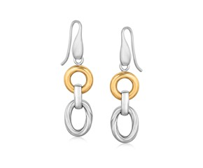 Round and Oval Rhodium Plated Dangling Earrings in 18k Yellow Gold and Sterling Silver