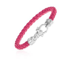 Pink Braided Leather Bracelet in Sterling Silver