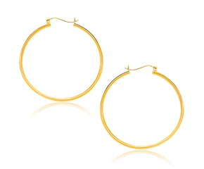 Classic Hoop Earrings in 14k Yellow Gold (40mm Diameter) (1.5mm)