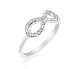 Diamond Studded Infinity Motif Ring in 14k White Gold (.17cttw)
