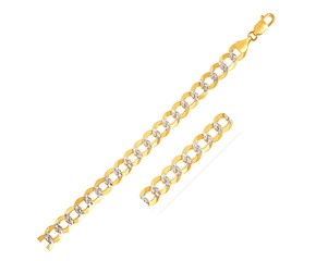 Pave Curb Bracelet in 14k Two Tone Gold (7.0mm)