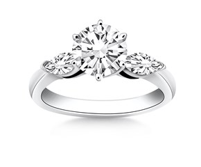 Three Stone Engagement Ring Mounting with Marquise Side Diamonds in 14K White Gold