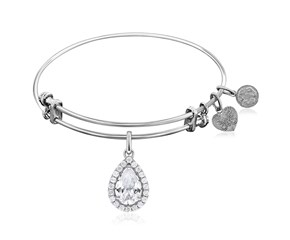 Expandable White Tone Brass Bangle with Pear Cubic Zirconia