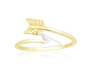 Open Ring with Arrow Design in 14k Two-Tone Gold