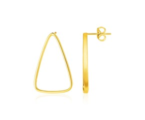 14k Yellow Gold Polished Open Triangle Post Earrings