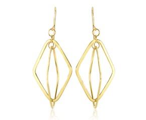 Flat Entwined Open Diamond Drop Earrings in 14K Yellow Gold