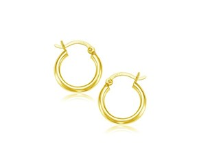 Classic Hoop Earrings in 10k Yellow Gold (15mm Diameter) (2.0mm)