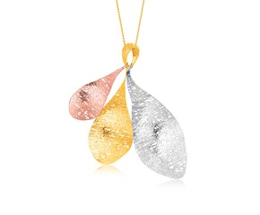 Tri-Color Freeform Weave Pendant in 14K Yellow, White, and Rose Gold