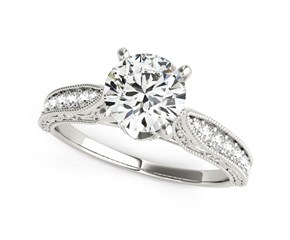 14k White Gold Round Pronged Antique Design Diamond Engagement Ring (1 5/8 cttw)