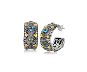 Blue Topaz and Green Amethyst Embellished Diamond Pattern Half Hoop Earrings in 18k Yellow Gold and Sterling Silver
