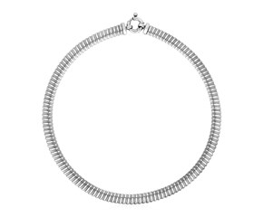 Ridged Chain Necklace in Sterling Silver