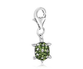 Tortoise Green Tone Crystal Accented Charm in Sterling Silver